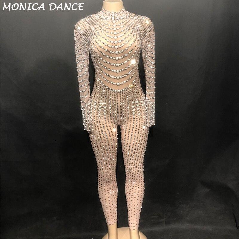 Для женщин пикантные Стадия Bling Dj комбинезон чистой пряжи полный сверкающие кристаллы жемчуг Боди для ночного клуба вечерние танцор певица