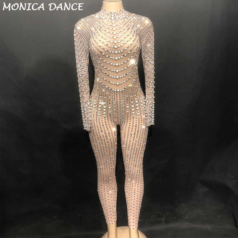 3de34853406 Women Sexy Stage Bling Dj Jumpsuit Net Yarn Full Of Sparkling Crystals  Pearls Bodysuit Nightclub Party