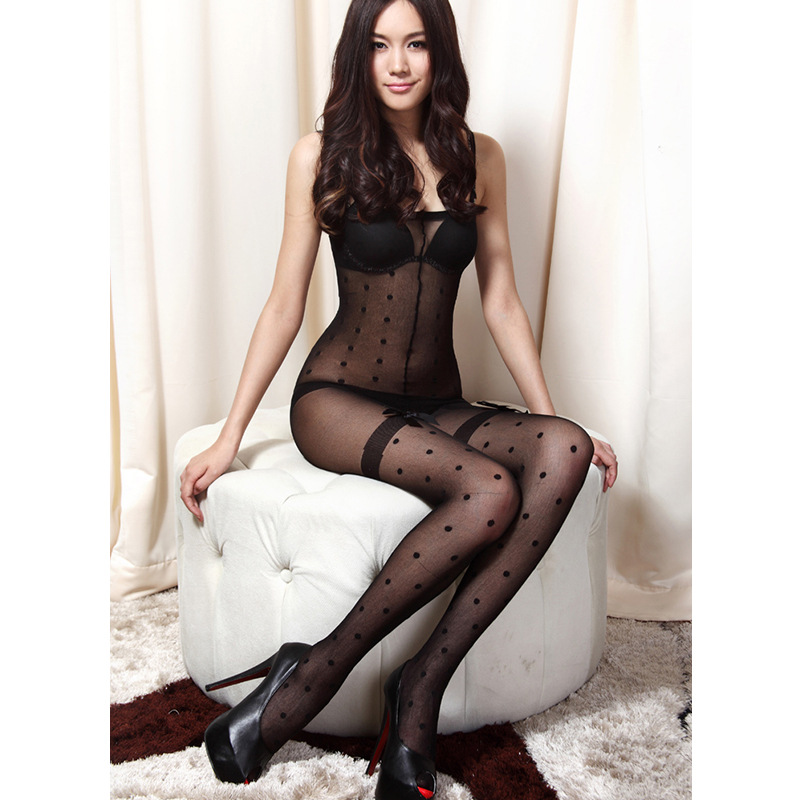 HOT SEXY Women Extreme Thin Transparent Sexy Dot Underwear Lingerie Pantyhose Black tights Female thin section