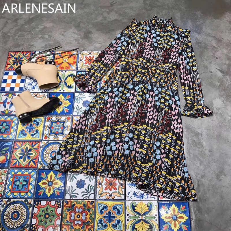 Noir Mode Dames Femme Robe Nouveau Personnalisé Flore Arlenesain 2018 100Soie À Volants Imprimé Collkar QrdoCtshxB