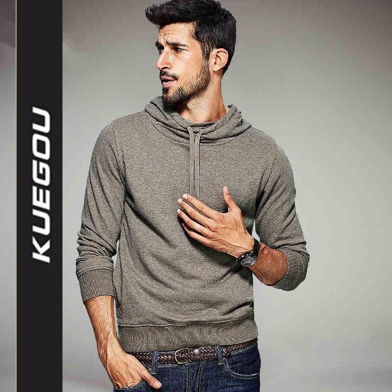 Kuegou 2017 New Mens Est 1979 Casual Hoodies Black Khaki Color Brand
