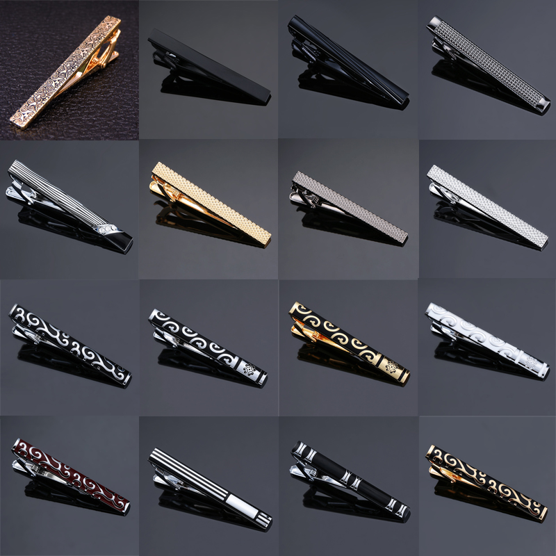High-end Tie Clip Men Jewelry Luxury Classic Gold Lase Matte Tie Bar Carving Simple Brushed Smooth Crystal Clasp Tie Pin Gifts