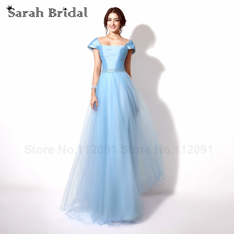 Sky Blue Tulle A-Line Prom Dresses With Detachable Wraps Luxury ...