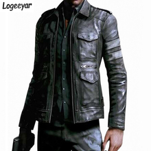 Resident Evil Горяч-продавая трехмерные карманы Мужская кожаная куртка slim fit кожаное пальто для мужчин Размер M ~ 3XL(China (Mainland))