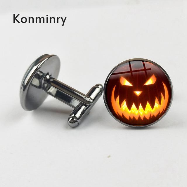 Punk Pumpkin Cufflinks Bronze Silver Black Glass Dome Cuff Links Jewelry Konminry