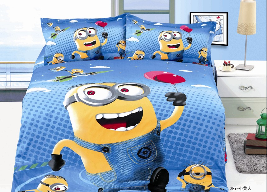 hot blue cartoon minions bedding sets children boyu0027s bedroom decor single twin size bed sheets quilt - Toddler Boy Sheets