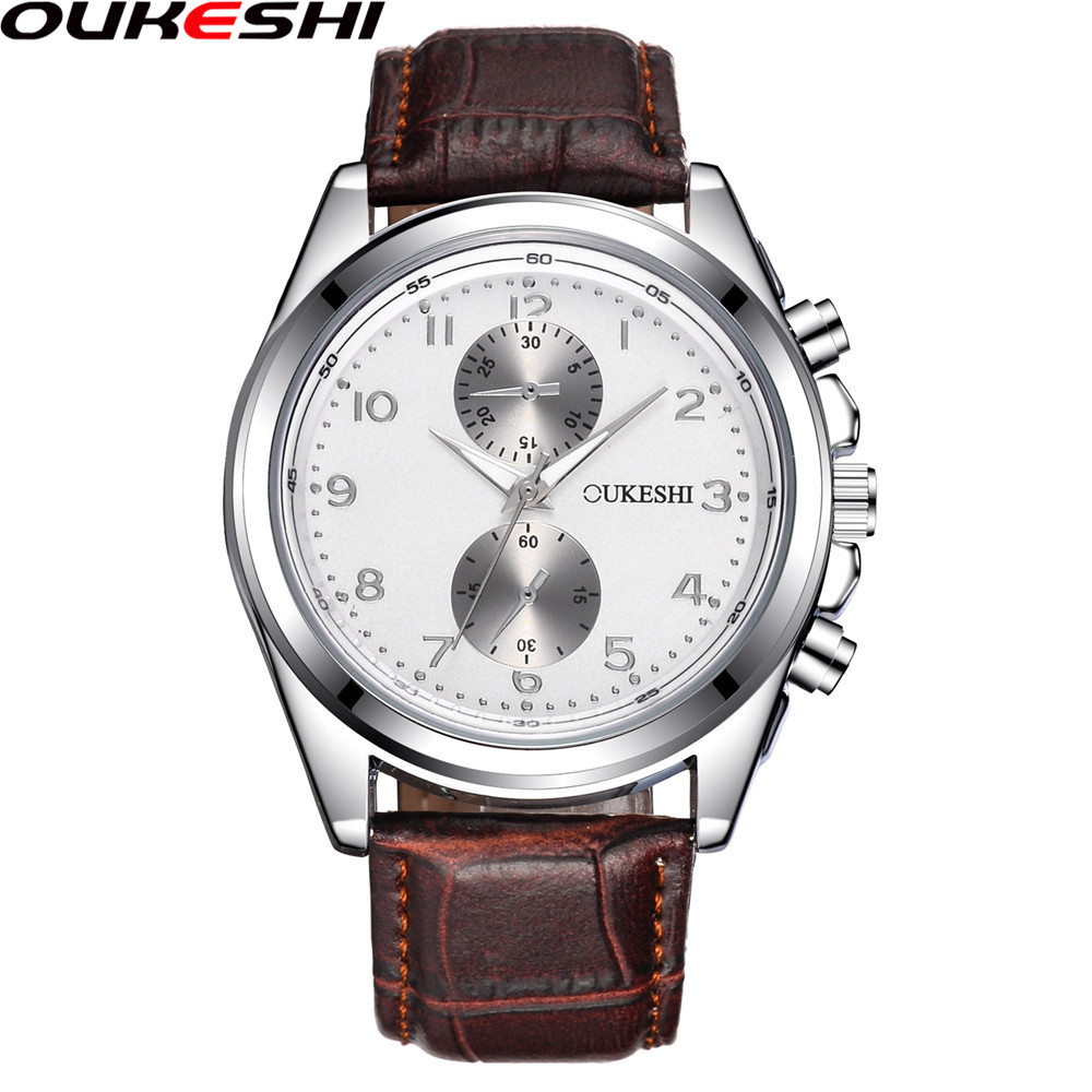 OUKESHI Brand Men Watches Top Brand Luxury Leather Men Business Quartz Wrist Watch Relogio Masculino OKS06