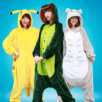 New Flannel Anime Pijama Cartoon Cosplay Warm Bear Owl Onesies Sleepwear Adult Unisex Homewear Animal Pajamas