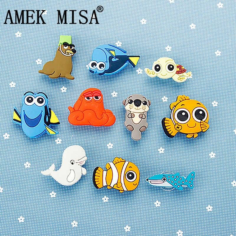 Novelty Cute 1-2 Set PVC Finding Nemo Garden Shoes Buckles Accessories Charm Decorations Fit Bands/Bracelets/Croc/Kids Gifts D02