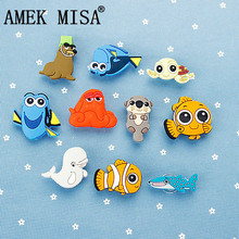 Novelty Cute 1-2 Set PVC Finding Nemo Garden Shoes Buckles Accessories Charm Decorations Fit Bands/Bracelets/Croc/Kids Gifts D02 цена