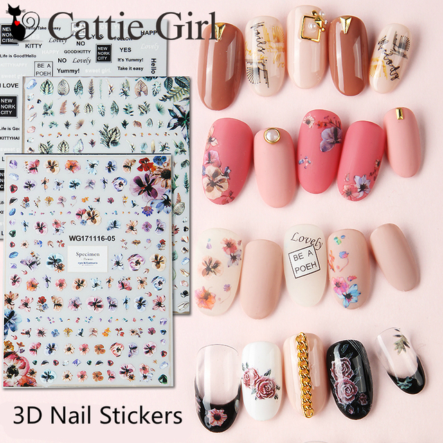 1 Sheet Leaf 3D Nail Art Transfer Stickers Specimen Flower Nail ...
