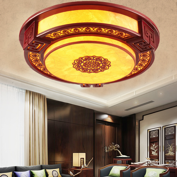 Vintage Chinese bedroom hollow red wood led ceiling lamp circular imitation sheepskin antique restaurant decoration lighting