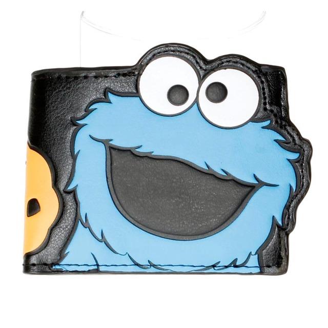 Oficial Negro Carácter Cookie Monster Gran Recorte Cartera Bi-fold DFT-1488