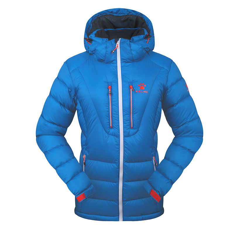 Kelme K46C5028 Women Long Sleeve Hooded Windproof Keep Warm Cotton Outdoor Sport Medium-long Down Jacket Blue