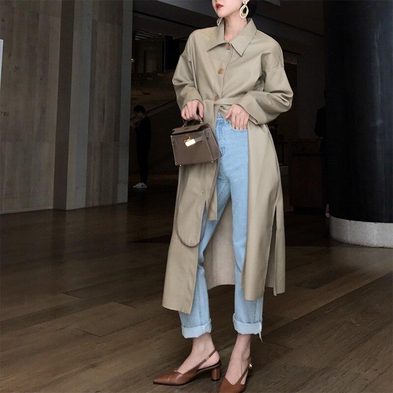 Gabardina de cuero larga KELIFAN para mujer 2018 otoño nueva versión coreana de Hong Kong viento chic abrigo largo