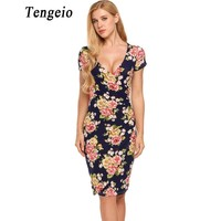 Tengeio Women Sexy Summer Vintage Bandage Dress V Neck Short Sleeve Floral Print Elastic Package Hip