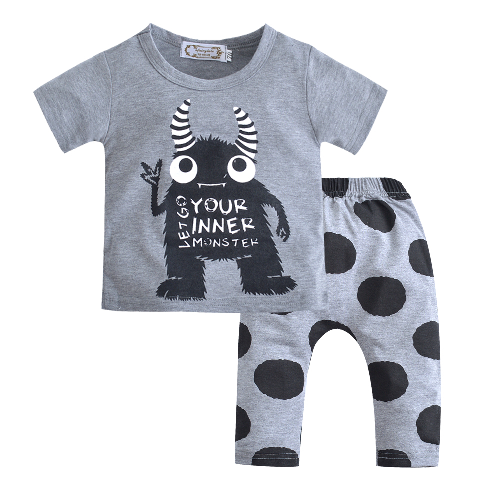 Baby boy clothes(Short Sleeve Tops+Pants) Baby Girl Clothes set Little Monster Set/ Let Go Your Inner Monster baby clothing sets infant baby boy girl 2pcs clothes set kids short sleeve you serious clark letters romper tops car print pants 2pcs outfit set