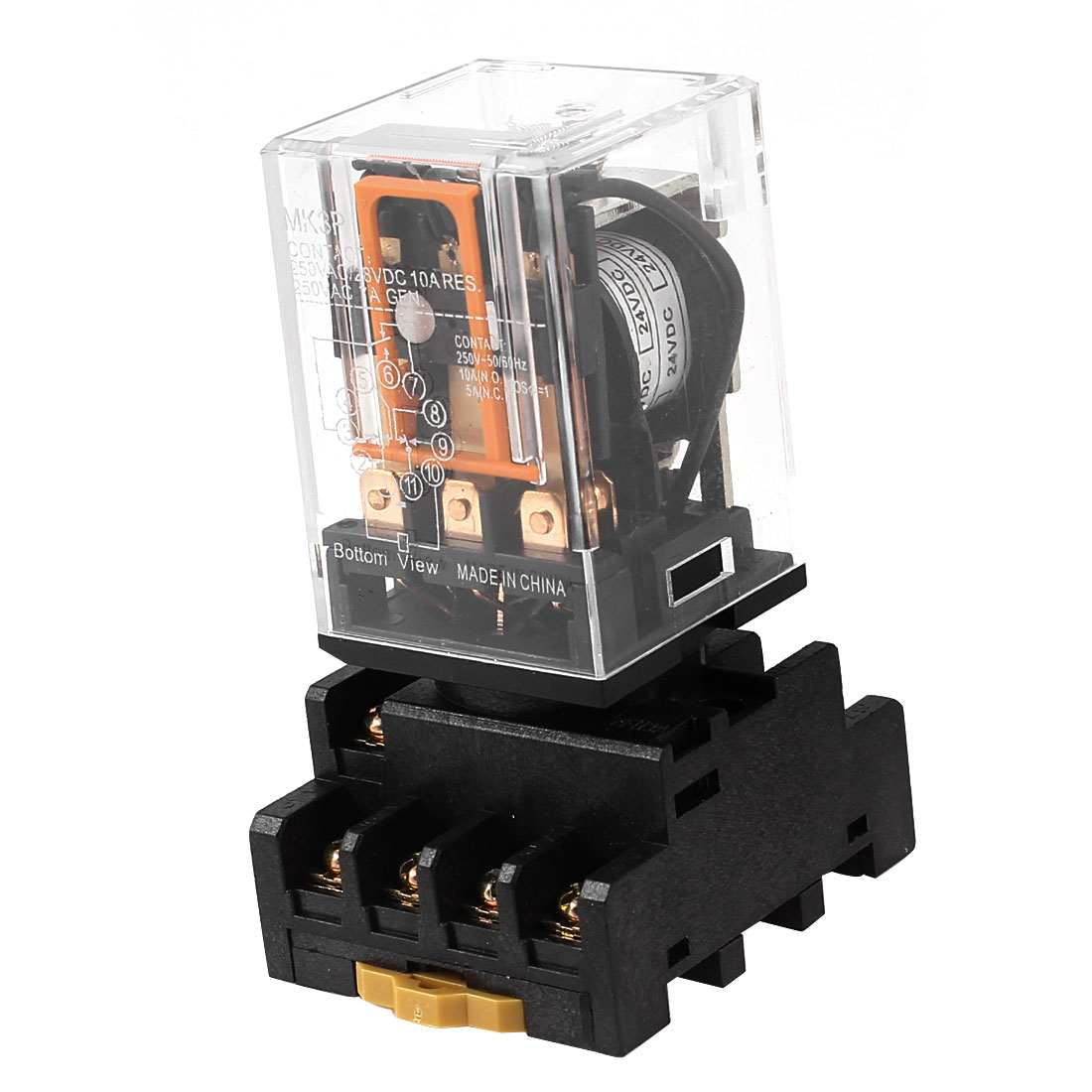 Mk3p  24V 11 Pins 3Pdt Coil General Purpose Electromagnetic Power Relay W 35Mm Din Rail  Socket Base din rail mount 4pdt 14 pin general purpose relay ac220v coil w socket
