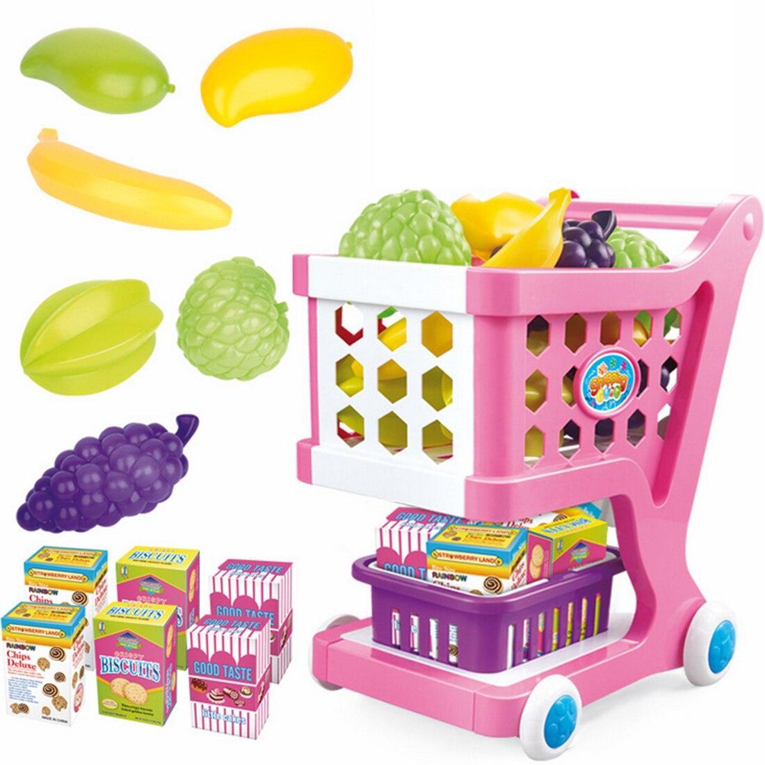 Chariot de Simulation de chariot de supermarché avec des Fruits légumes jouets d'épicerie pour l'éducation d'apprentissage précoce des enfants