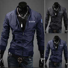 2013 men's autumn and winter clothing new arrival male paragraph embroidery plus cotton jacket thermal slim design short