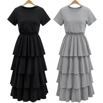 ¡NOVEDAD DE 2017! Versión de moda de vestido de pastel para mujer, vestido delgado de base de representación delgada, Vestido de manga corta para mujer negro, blanco gris