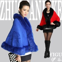 2014 New Winter Autumn Faux Fur Coats For Women Flower Embroidery Feminino Office Work Wear Top