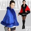 2016 Nueva Otoño Invierno Faux Fur Coats for Women Bordado de La Flor Feminino Oficina Ropa de Trabajo Superior Cardigans Blanco, Negro, rojo, Azul