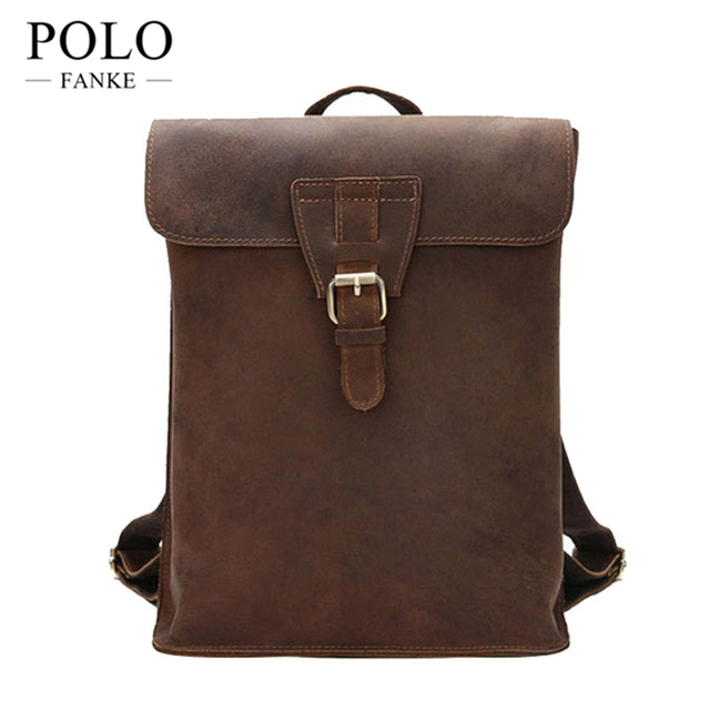 6d016b737598 Vintage Bag Men s Backpack Unisex Designer Double Shoulder Bags Male Carzy  Horse Cow Leather Travel Bag Rucksack CH067