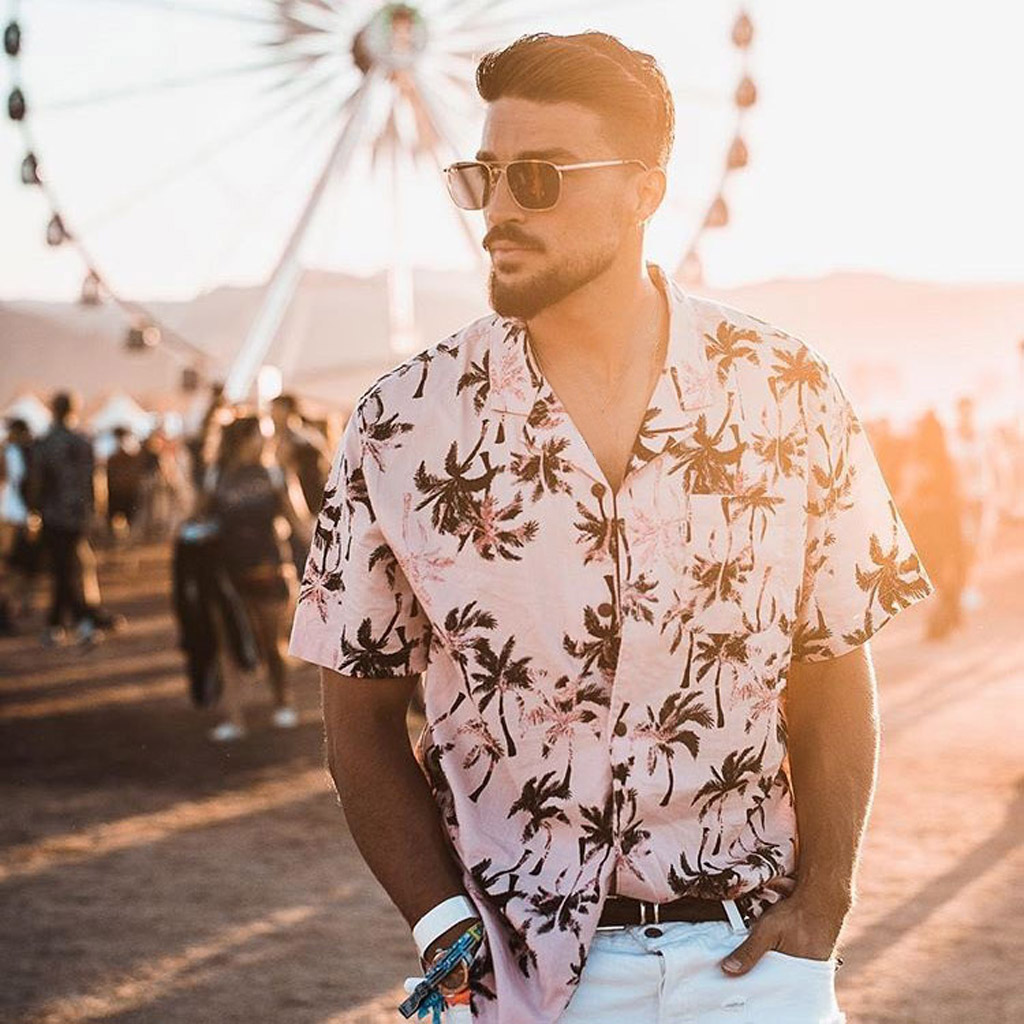 Mens Ethnic Short Sleeve Beach Hawaiian Shirt Tropical Summer Printing Hawaiian Button Down Shirts Plus Size Chemise Homme