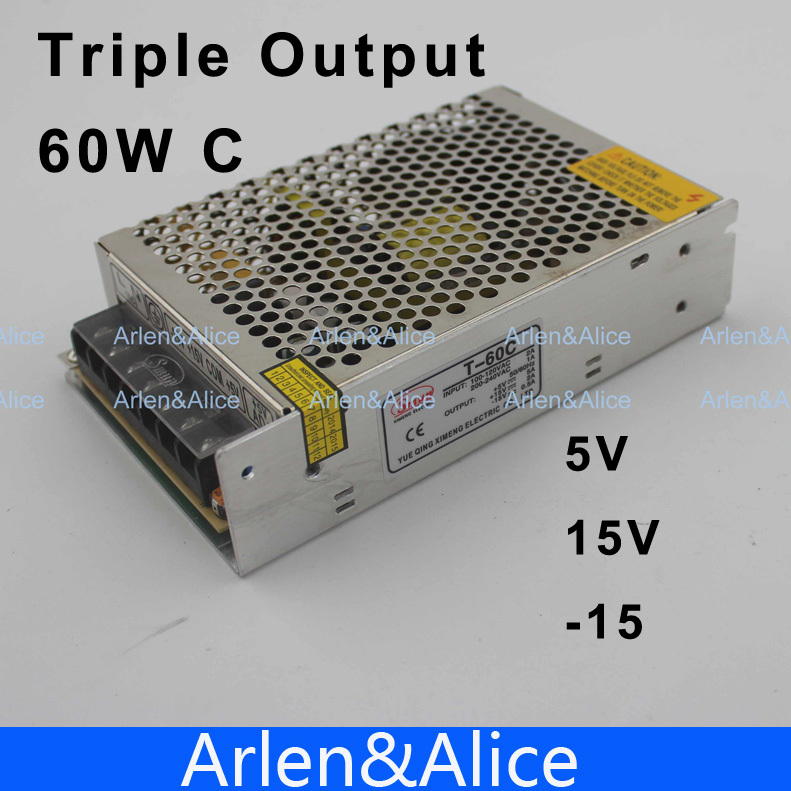 60W Triple output 5V 15V -15V Switching power supply smps AC to DC DC5A 2A 0.5A 60w quad output 5v 15v 5 15v switching power supply ac to dc