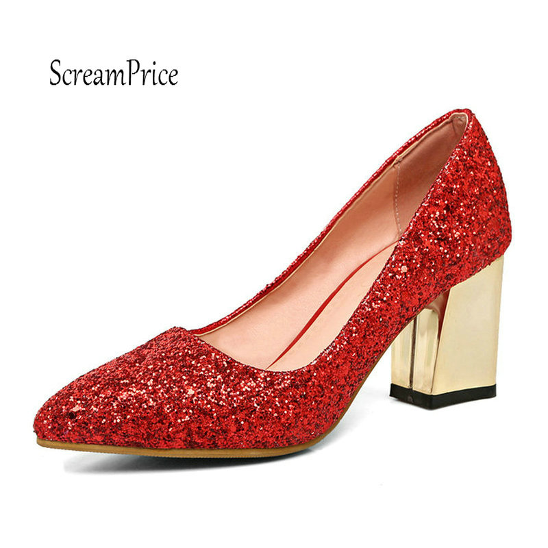 Fashion Sequined Cloth High Heels Thick Heel Women Pumps Fashion Pointed Toe Party Wedding Spring Autumn Shoes Woman