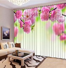 Custom curtains pink rose Digital Print 3D Blackout Curtains For Living room pink curtains(China)