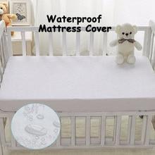 पालना आकार 72X132 सेमी बेबी निविड़ अंधकार पालना गद्दे कवर- रजाईदार अल्ट्रा शीतल सफेद बांस टेरी फिट शीट शैली