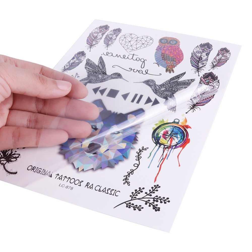 Nero Dream Catcher Owl Eye Tatuagem Body Art Temporary Autoadesivo Del Tatuaggio Gradiente Colorato Piuma di Uccello Tatoo Sticker #265942