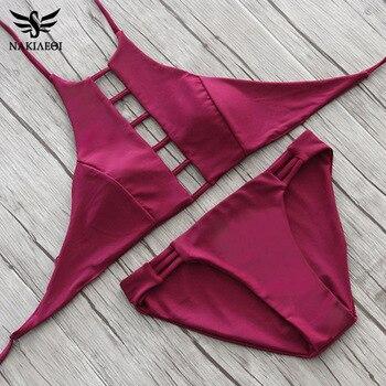 NAKIAEOI 2019 Sexy High Neck Bikini Women Swimsuit Swimwear Cut Out Retro Push Up Bikini Set Printed Summer Beach Bathing Suit 5