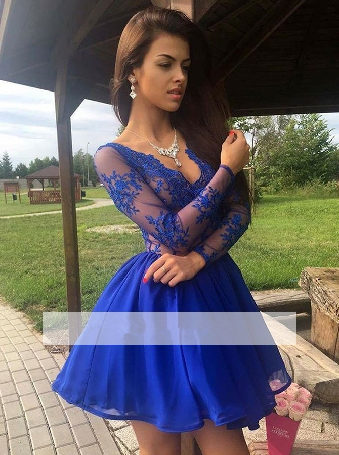 Royal Blue 2019 Elegant Cocktail Dresses A-line V-neck Long Sleeves Tulle Lace Party Plus Size Homecoming Dresses