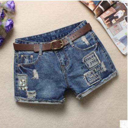 2019  Womens Summer Jeans Shorts Washed Scratching Hole Casual Denim Sexy Shorts Ripped Mini Cowboy Short Bermuda Feminina J2308