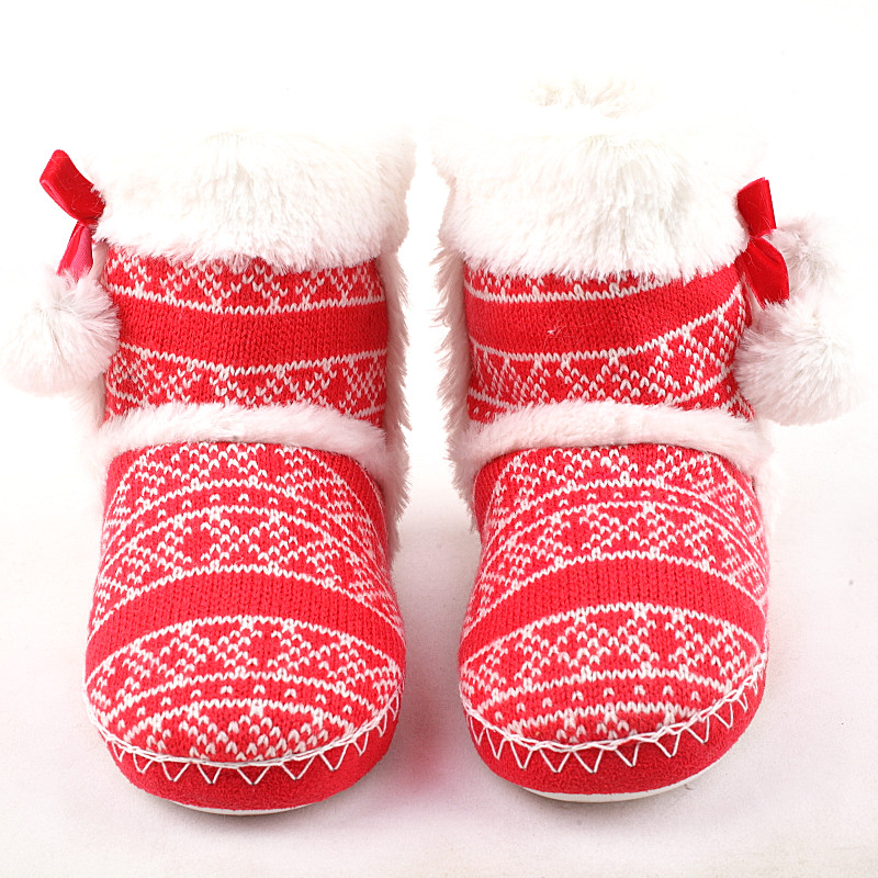Kids Kitting Wool Home Slippers Warm Winter Girl Slippers Indoor Slippers Girl Shoes Comfortable Soft Floor Boot Knitting