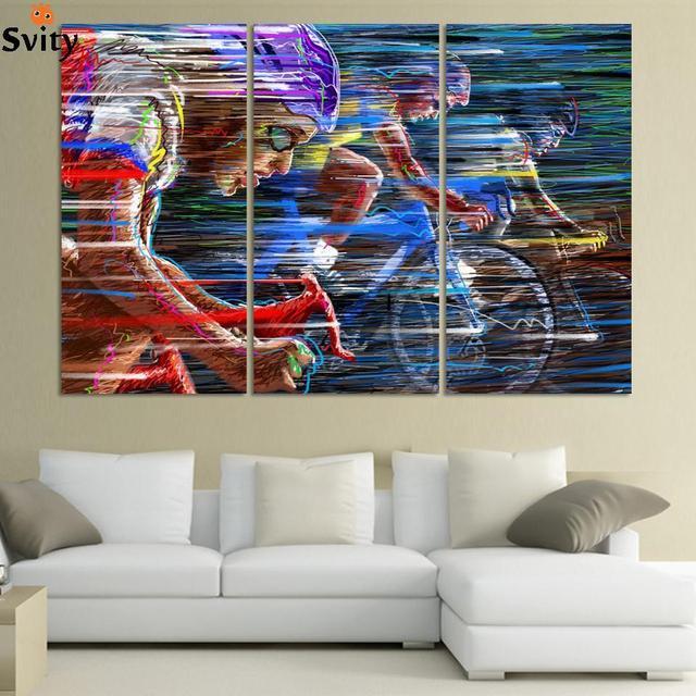 Vlo Sport Course Multicolore Caractres Abstraits Toile Peinture