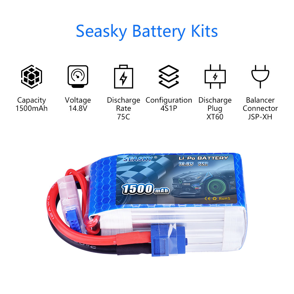 Image 2 - SEASKY 4S LiPo Battery 14.8V 1500mAh 75C RC battery lipo 14.8V Battery XT60 bateria lipo for FPV drone-in Parts & Accessories from Toys & Hobbies