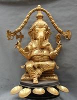 150401 S1218 35 Tibet Buddhism Bronze Ganapati Ganesh Lord Ganesha Elephant Buddha Statue