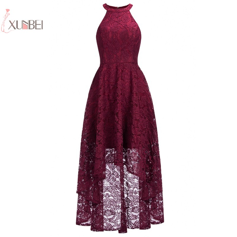 2019 Elegant Burgundy Pink Navy Blue Lace Short   Cocktail     Dresses   Plus Size Halter Sleeveless Swing robe   cocktail   Party   Dress