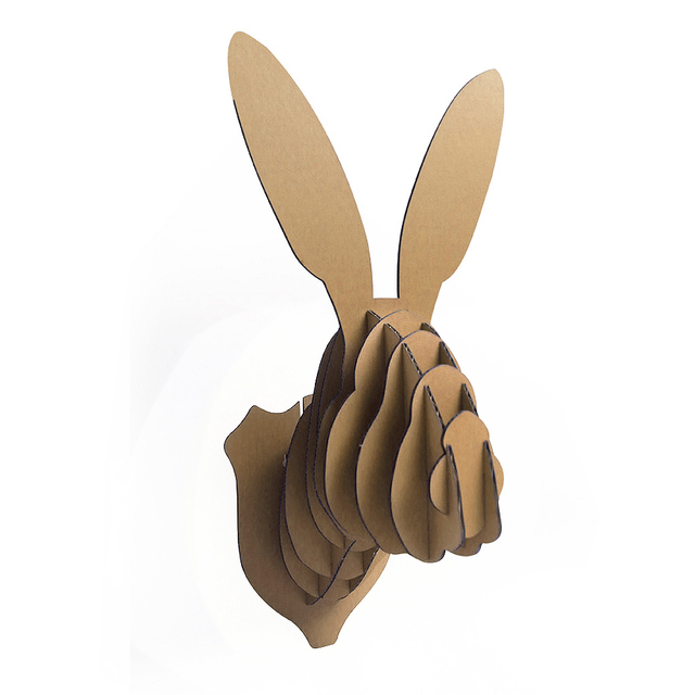 Beautiful Decoration Easter Bunny Head Wall Mount 3d Puzzle DIY Cardboard  GE03