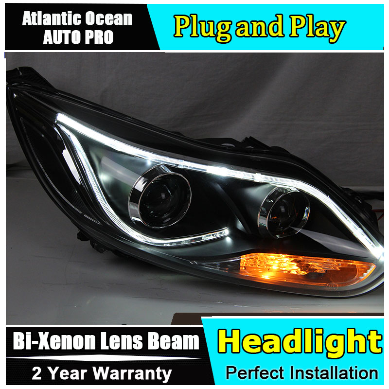 car styling For Ford Focus headlights 2012 For Ford Focus Bi-xenon Double lens HID KIT universal black 3 76mm polished aluminum fmic intercooler piping kit diy pipe length 600mm for ford focus 98 12 ep lgtj76 600