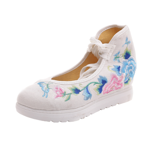 2019 New Women Canvas Increasing Height Ankle Strap Spring Autumn Shoes China Style Vintage Embroiders Wedges Heels Lady Shoes Multan