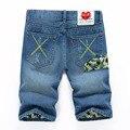 2016 шорты мужчин мода свободного покроя мужская джинсовые шорты хлопок прямо разорвал дизайнерские шорты бермуды Homme мужская капри размер 28 - 38