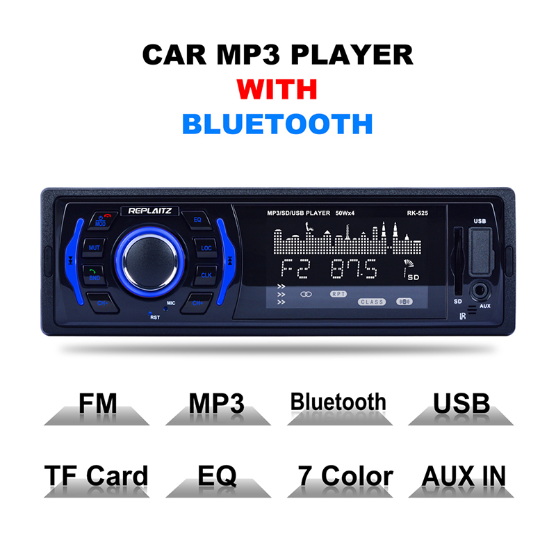 RK-525 Car MP3 Radio Player DC 12V 1 Din Bluetooth Handsfree USB AUX Memory Card MP3 Stereo Player Auto Radio ISO Power Cable
