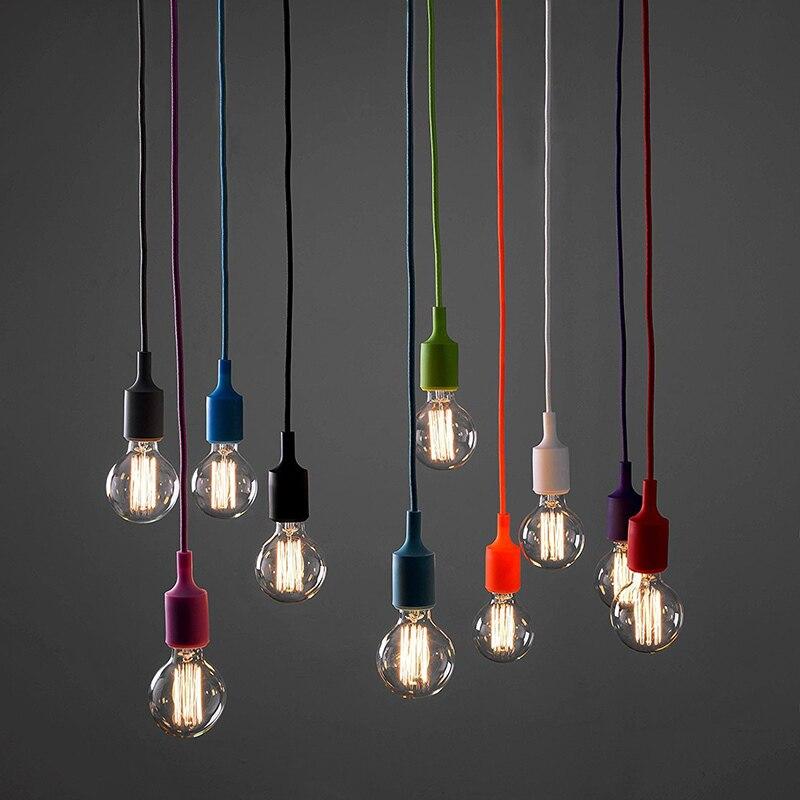 DIY 13 coloré en option collocation Silicone tressé corde tête unique moderne led plafond lustres e27 cordon brève lumière bar