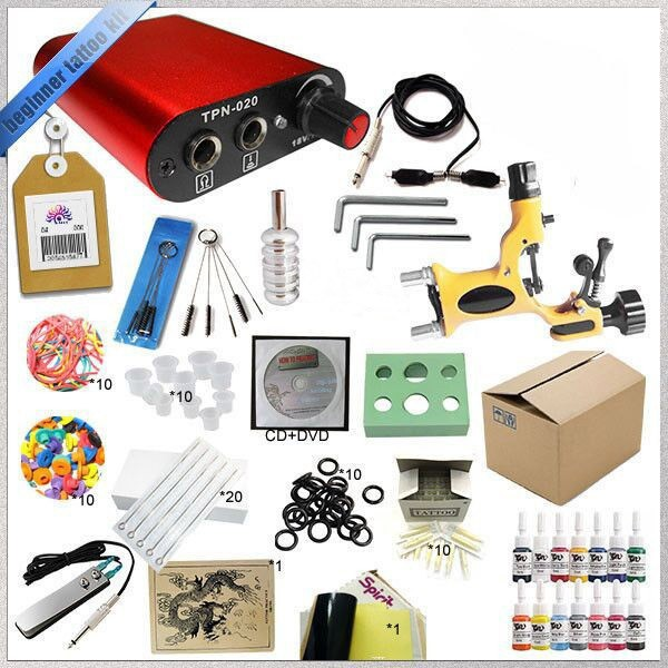 Professional tattoo kit 1 gun machines and power supply wiht  ink cup for hand  10 rubber bands and 14 colors 5ML ink professional tattoo kits liner and shader machines immortal ink needles sets power supply