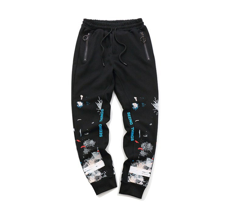 Hip Hip Off White Style Pants Vintage Firework Sweatpant Graffiti Cargo Harem Pant Streetwear Harajuku Jogger Cotton Trousers